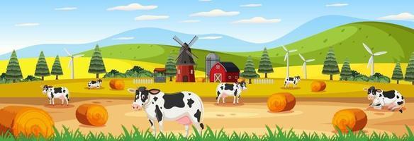 cena panorâmica de paisagem com muitas vacas na fazenda vetor