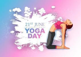 ilustração de mulher fazendo asana e prática de meditação para o dia internacional de ioga em 21 de junho vetor