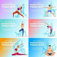 ilustração de pessoas fazendo asana e prática de meditação para o dia internacional de ioga em 21 de junho vetor