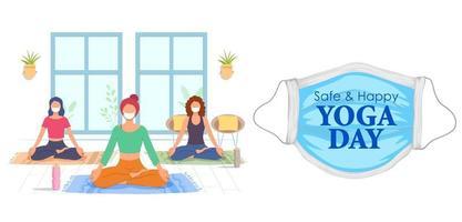 design seguro e feliz de dia de ioga com mulheres mascaradas vetor