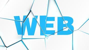 Palavra de 'WEB' em uma superfície branca quebrada, ilustração vetorial vetor