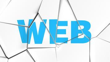 Palavra de 'WEB' em uma superfície branca quebrada, ilustração vetorial