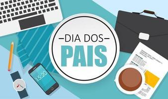 feriado no dia dos pais do brasil. português brasileiro dizendo feliz dia dos pais vetor