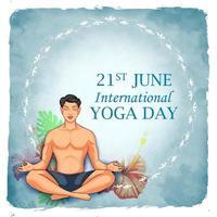 ilustração de homem fazendo asana e prática de meditação para o dia internacional de ioga em 21 de junho vetor