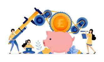desenho vetorial de pessoas aprendem a melhorar empréstimos do sistema bancário e economizando educação econômica e alfabetização financeira. vetor