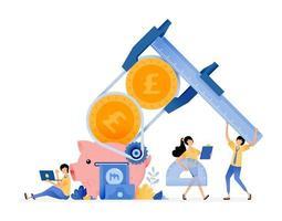 desenho vetorial para melhorar a alfabetização comportamental na gestão de finanças pessoas economizando no cofrinho para educação financeira ilustração pode ser para sites cartazes banners aplicativos móveis web mídia social vetor