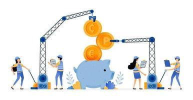 desenho vetorial de melhoria da infraestrutura financeira bancária para tornar os clientes mais fáceis de economizar e coletar fundos ilustração pode ser para sites cartazes banners aplicativos móveis web mídia social vetor