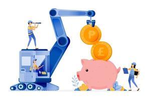 projeto vetorial de infraestrutura financeira para apoiar o desempenho bancário e incentivar as pessoas a economizar em bancos ilustração pode ser para sites cartazes banners aplicativos móveis anúncios de mídia social da web vetor