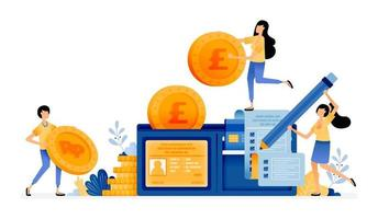desenho vetorial de carteira preenchida com moedas contas cartões de crédito gerenciar despesas financeiras pessoais alfabetização financeira ilustração pode ser para sites cartazes banners aplicativos móveis web mídia social vetor