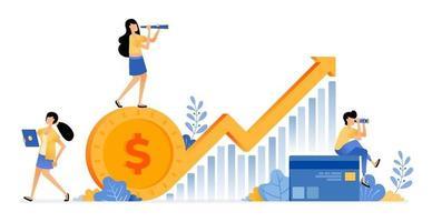 desenho vetorial de aumento de investimento no setor de economia financeira gráfico futuro com seta para cima ilustração de alfabetização financeira pode ser para sites cartazes banners aplicativos móveis anúncios de mídia social vetor