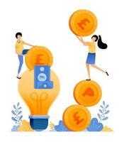 desenho vetorial de preços para salvar ideias e alfabetização financeira pessoas segurando moedas e colocar dinheiro em uma lâmpada a ilustração pode ser para sites cartazes banners aplicativos móveis web mídia social vetor