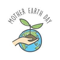 mão desenhada dia da mãe terra. mãos humanas segurando uma planta. cuidado ambiental e responsabilidade social doodle. vetor