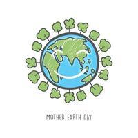 mão desenhada dia da mãe terra. cuidados com a ecologia e conceito ecológico. vetor