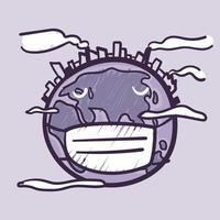 o mundo está cheio de poeira, fumaça, poluição desenhada à mão doodle cartoon. cuidados com a ecologia e conceito ecológico. vetor