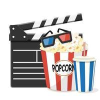 cinema com badalo, pipoca, refrigerante e óculos 3D vetor