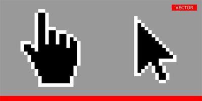 seta branca e preta e pixel de ponteiro de mão e nenhum conjunto de ilustração de vetor de ícones de cursores de pixel