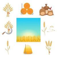 trigo colheita conjunto de ilustração em vetor design estilo simples. ferramentas agrícolas e produção de coisas. grão de trigo integral com sementes, foice, fardo de feno de forkm de feno, sacos de farinha, paisagem de campo de trigo isolada.