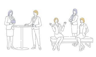 conjunto de empresários fazendo uma pausa isolada em um fundo branco. vetor