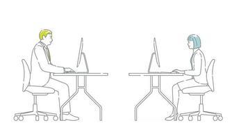 conjunto de empresários vetoriais trabalhando nas mesas isoladas em um fundo branco vetor