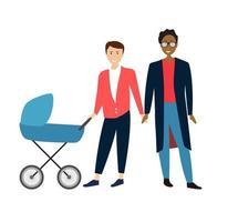 dois homens gay cartoon casal com bebê em um carrinho. ilustração vetorial vetor