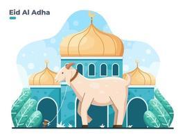 Ilustração em vetor eid al adha plana com animal cabra ou ovelha em frente à mesquita selamat hari raya idul adha significa feliz eid aladha, também chamado de festival de sacrifício
