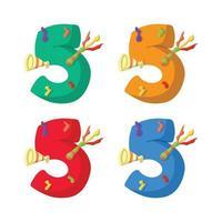 Ilustração em vetor design plano vela de aniversário de 5 anos com escolha de cor diferente.