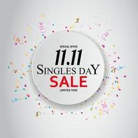 11 de novembro venda do dia de solteiros. ilustração vetorial vetor