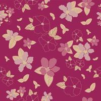 flores e folhas de padrão de vetor sem costura
