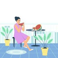 uma mulher em um roupão de banho está comendo uma melancia suculenta em sua varanda vetor
