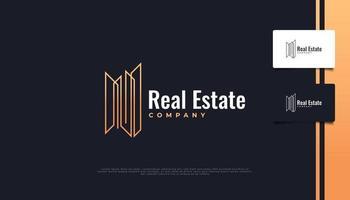 logotipo minimalista de imóveis com estilo de linha. construção, arquitetura ou modelo de design de logotipo de construção vetor