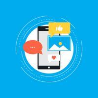 Mídias sociais e redes conceito design plano ilustração vetorial