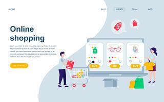 Modelo de design moderno página web plana de compras on-line vetor