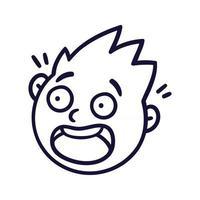 rosto abstrato redondo com emoções assustadas. avatar emoji assustado. retrato de um homem em pânico. estilo dos desenhos animados. ilustração em vetor design plano.