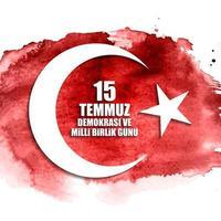 15 de julho, boas festas democracia república da turquia turco speak 15 temmuz demokrasi ve milli birlik gunu. ilustração vetorial vetor