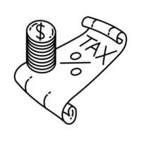 ícone de imposto. doodle desenhado à mão ou estilo de ícone de contorno vetor