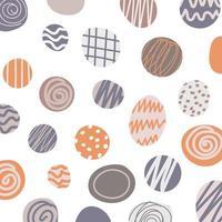 Círculos abstratos desenhados à mão com padrão de linha listrado no fundo branco vetor