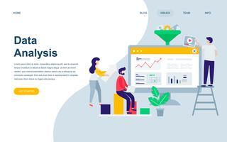 Modelo de design de página web plana moderna de auditoria, análise de dados vetor