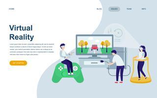 Modelo de design de página web plana moderna de realidade virtual aumentada