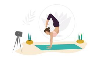uma menina instrutora de ioga mostra exercícios online vetor
