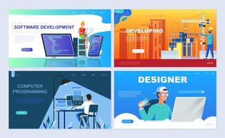 Conjunto de modelos de página de destino para Software, Desenvolvimento, Designer, Programação. vetor