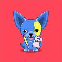 cachorro chihuahua fofo segurando livro e lápis vetor