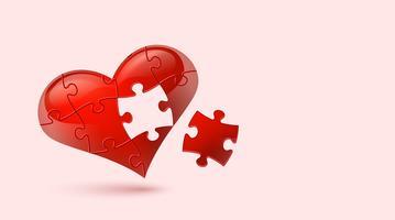 Coração quebra-cabeça. Ilustração vetorial vetor