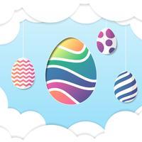 Cartão de Páscoa feliz com ovos e fundo de nuvem