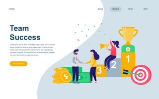Modelo de design de página web plana moderna do sucesso da equipe vetor