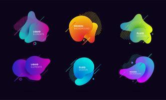 Banners abstratos gradientes com fluindo formas líquidas