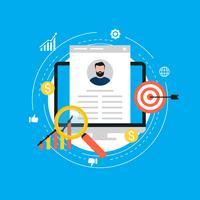 Recrutamento de emprego, trabalho candidato avaliação plana vector illustration