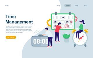 Modelo de design de página web plana moderna de gerenciamento de tempo vetor