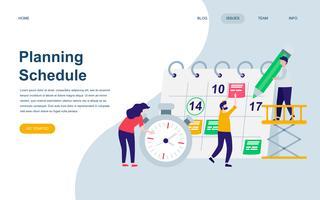 Modelo de design de página web plana moderna do cronograma de planejamento