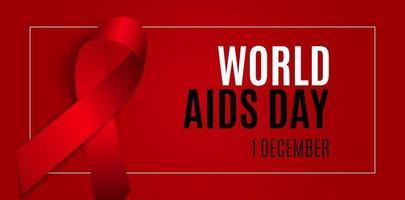 fundo do dia mundial da aids de 1 de dezembro. sinal de fita vermelha. ilustração vetorial vetor
