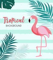 abstrato tropical com flamingo e folhas de palmeira. ilustração vetorial vetor
